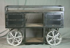 Reclaimed Wood, Industrial Trolley Bar Cart from Combine 9 Design - Combine9.com