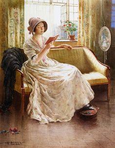 """Уильям Кей Блэклок (William Kay Blacklock) """"Умиротворяющее чтение"""" (""""A Quiet Read""""), 1913 г."""