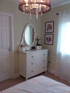 Master bedroom redecorated. Walls, Laura Ashley Willow paint; dresser, Ikea Hemnes; Light, Litecraft 'Compton'