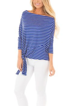 Womens Striped Off Shoulder Sleeves Dolman Top with Tie Detail - Blue - Clothing, Tops & Tees, Blouses & Button-Down Shirts & Button-Down Shirts Blouses For Women, Sweaters For Women, Womens Fashion Online, Fashion Women, Dolman Top, Shoulder Shirts, Fashion Outfits, Style Fashion, Plus Size