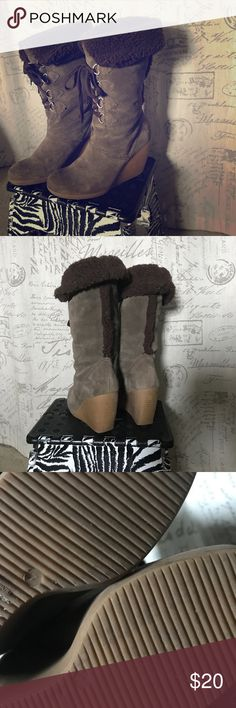 J. Crew lace up faux fur boots Adorable lace up Platform boots with faux fur J. Crew Shoes Lace Up Boots