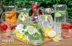 Receitas: Aline Pampani | Jarras: Tania Bulhões RECEITA 1 - 1 litro de água gelada - 1 limão cortado em rodelas - 2 raminhos de hortelã - 1 pitada de erva