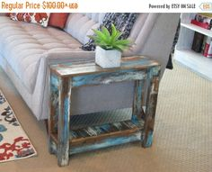 Heavily Distressed Side Table End Table by DougAndCristyDesigns Unique End Tables, White End Tables, Coffee And End Tables, Rustic Furniture, Living Room Furniture, Diy Furniture, Cabin Furniture, Building Furniture, Western Furniture