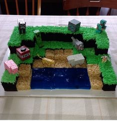 I know imgur is love/hate minecraft, but my friend's wife made this cake for their son and I had to share... the photo.