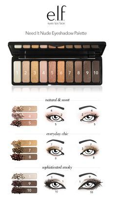 Count the ways to play with the Need it Nude Eyeshadow Palette from e.l.f. Cosmetics. Our global artistic director created these three looks from our best selling Need it Nude Eyeshadow Palette. 1 palette, 3 looks, endless possibilities. Get it exclusively at elfcosmetics.com