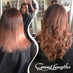 Copper / brown Great Lengths hair extensions before and after transformation #long #curly #hair
