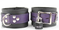 Black and Purple Locking Leather Cuffs  http://black-rabbit.com.au/cuffs/black-and-purple-locking-leather-cuffs/ #bondage #bondagecuffs #blackrabbit #blackrabbitpremiumleather