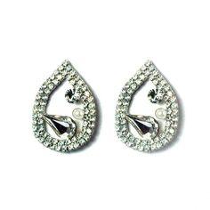 Crystal Vintage Open Teardrop Stud Earrings Silver - 4EverBling