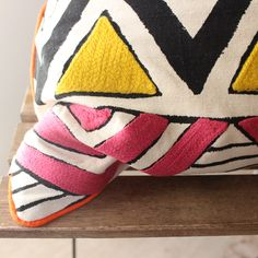 Hand Painted Zig Zag Cotton Cushion Cover