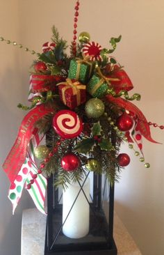 """""""CHRISTMAS BOUTIQUE WINDOW"""" - Decorative Christmas Winter Holiday Lantern Swag/Bow, $ 39.95 by DecorClassicFlorals"""