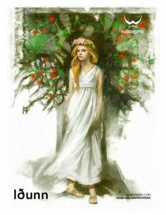 The Kidnap of Idun shook the Norse gods to the core because they lost the guardian of youth they lost their beauty. The moral meaning of the story reached far beyond the retrieval of the Norse guardian of youth fruits. North Mythology, Costume Original, Norse Goddess, Pagan Art, Old Norse, Asatru, Norse Vikings, Viking Art, Divine Feminine