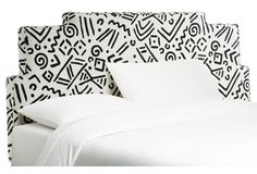 White/Black Rex Stepped Headboard, Queen
