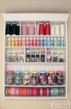Craft Room Organization with Painted Mason Jars | www.amygigglesdesigns.com