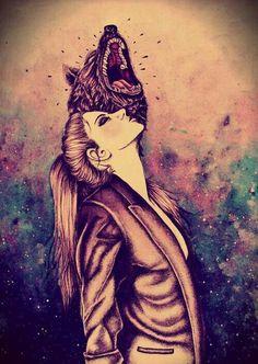 Girl  wolf art