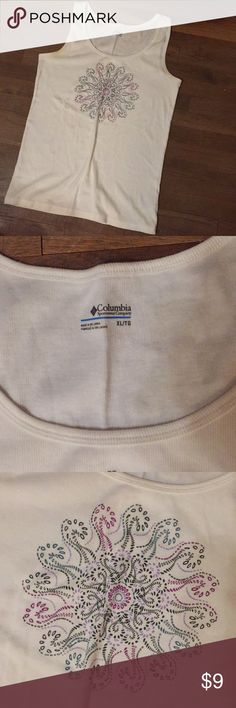 """White Cotton Tank Worn once and washed Ribbed Knit  Bust 36"""" Length 27"""" Columbia Tops Tank Tops"""