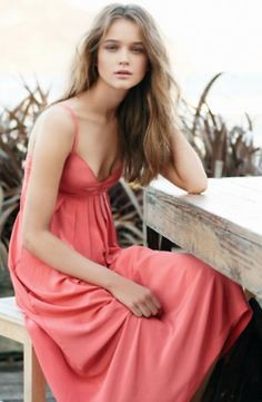 Love this shade of pink / salmon.   Perfect summer sun dress