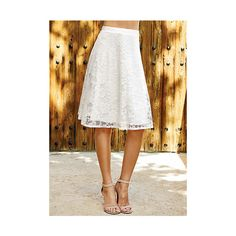 Nina Lace Circle Skirt ($25) ❤ liked on Polyvore featuring skirts, ivory, white flared skirt, white circle skirt, lace circle skirt, ivory skater skirt and flared skirt