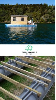 "The Pontoonz Modular Float System is an innovative creation from New Zealand that consists of 1.2-meter (about 4-foot) pontoon ""pods"" with built-in grooves where connecting beams can be bolted. Read more here...#tinyhouseforus #pontoon #diy #lakelife #lakehouse"