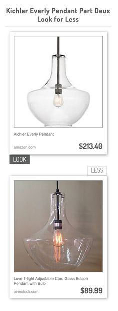 Kichler Everly Pendant vs Love 1-light Adjustable Cord Glass Edison Pendant with Bulb