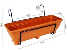 Hanging Balcony Planter - Trough holder for use on balconies, fences or railings. An ideal alternative to a window box. (Brown): Amazon.co.uk: Garden & Outdoors