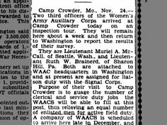 WAACs McCall and Brainerd to Camp Crowder, 25 Nov 1942