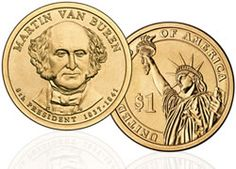 2008 Martin Van Buren Presidential Coin BU//UNC $1 with Biography and 2 Stamps