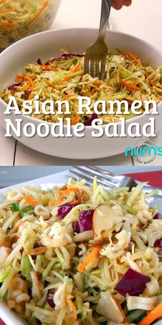 *VIDEO* This Asian Ramen Noodle salad takes 20 minutes to whip together and can be made the night before. Easy, quick and one of our favorite salads! *VIDEO* This Asian Ramen Noodle salad takes 20 minutes to whip Asian Ramen Noodle Salad, Raman Noodle Salad, Noodle Salads, Coleslaw With Ramen Noodles, Cold Pasta Salads, Ramen Coleslaw, Noodle Noodle, Tortellini Salad, Orzo Salad