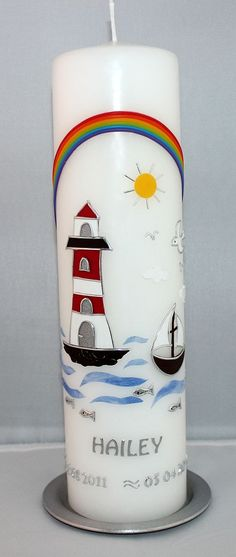 Taufkerze mit Leuchtturm Baptism Candle, Communion, Pillar Candles, Christening, Diy And Crafts, Easter, Mugs, Tableware, Inspiration