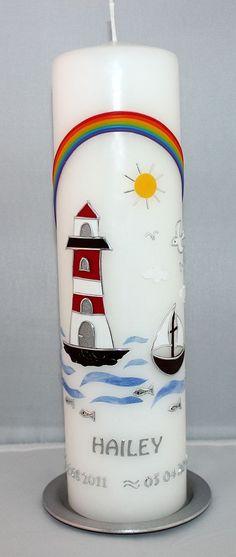 Taufkerze mit Leuchtturm