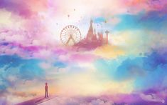Anime Fantasy Art - Anime Fantasy Illustration - Surreal Art - Surreal Cloud Art - Surreal Castle in the Sky - Original Anime Art Poster Anime Art Fantasy, Fantasy Kunst, Cloud Art, Anime Kunst, Fantasy Illustration, Anime Scenery, Surreal Art, Ciel, Wallpaper