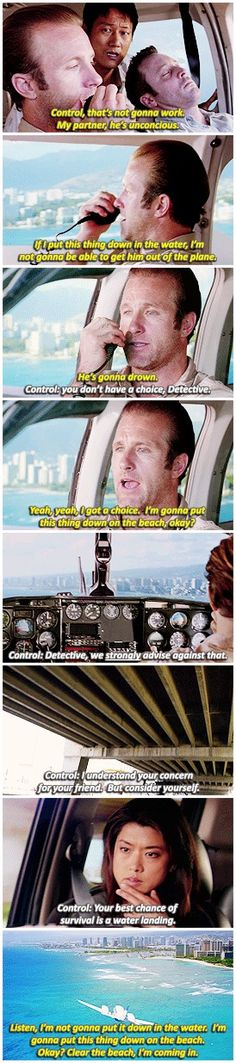 Danny landing a plane and trying to save Steve's life