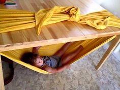 stretchy hammock idea using dining room table