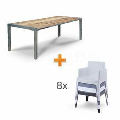 Stoere houten tuintafel korting! - 8 stoelen BOX - DesignOnline24