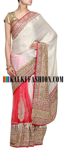Buy Online from the link below. We ship worldwide (Free Shipping over US$100) http://www.kalkifashion.com/half-and-half-saree-in-cream-and-pink-with-kundan-embroidery.html Half and half saree in cream and pink with kundan embroidery
