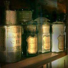 Collection of awesome antique bottles used in herbal medicine - Aboca's Herbal Medicine museum Sansepolcro, Italy