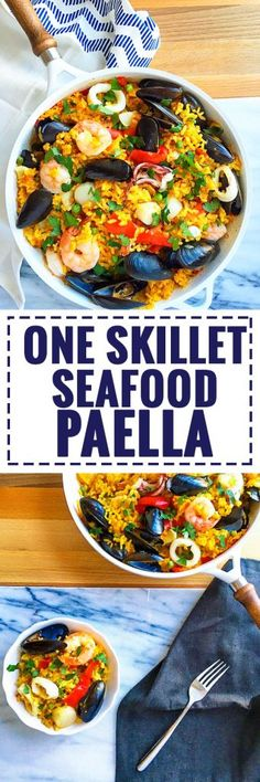One Skillet Seafood Paella - 10 minutes of prep, lots of flavor! using mussels and shrimp in rice