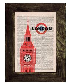 Vintage Book Print London Big Ben Tower poster Print by PRRINT