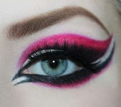 Pink, black, and white makeup by epic erin