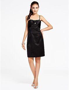 Sheath/Column Spaghetti Straps Sleeveless Knee-length Satin Bridesmaid Dress