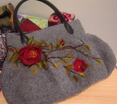 felted handbag | ... This bag was knitted then felted and then beautifully embellished