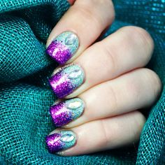 Purple teal glitter gradient nails