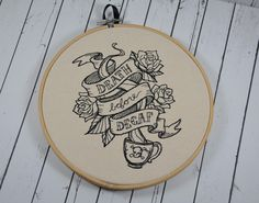 Death Before Decaf Hoop Art - Machine Embroidery