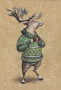 VERY RARE deer in sweater with mug by Lia Selina Russian modern postcard Hirsch Illustration, Deer Illustration, Christmas Illustration, Watercolor Illustration, Watercolor Art, Noel Christmas, Christmas Images, Illustration Inspiration, Christmas Drawing