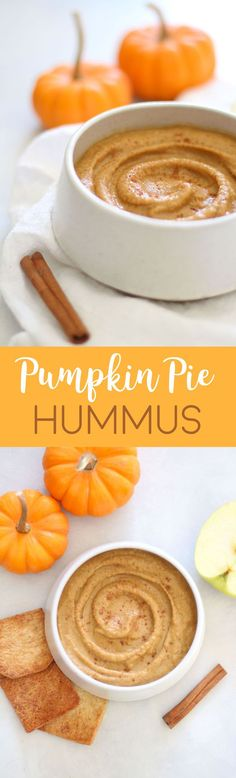 Pumpkin Pie Dessert Hummus - a healthy and sweet fall dip that's great on apples, graham crackers, and cinnamon sugar pita chips!