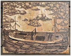 "Tugboat Printshop: ""Farm Barge"" Woodcut Print"