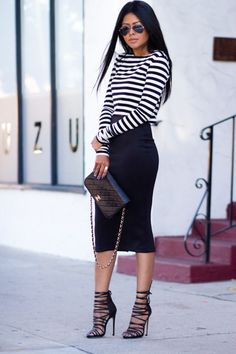 long pencil skirt and simple striped shirt--- those shoes might look well  wit my outfit if i can find in gold. 66c9454ba