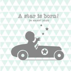 Geboortekaart silhouet race auto
