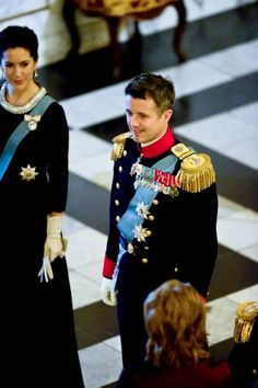 Crown Princess Mary and Crown Prince Frederik receiving the chiefs of the diplomatic corps in the Rider's Hall during the New Year's Court in Christiansborg Palace on 06.01.2015.