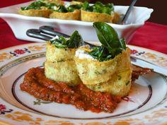 """Spinach, """"Raw""""cotta, Squash Involtini & Marinara"""