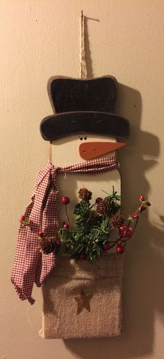 Primitive Wooden Snowman with Burlap Bag